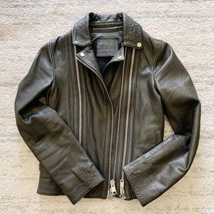 All Saints Charcoal Grey Leather Jacket